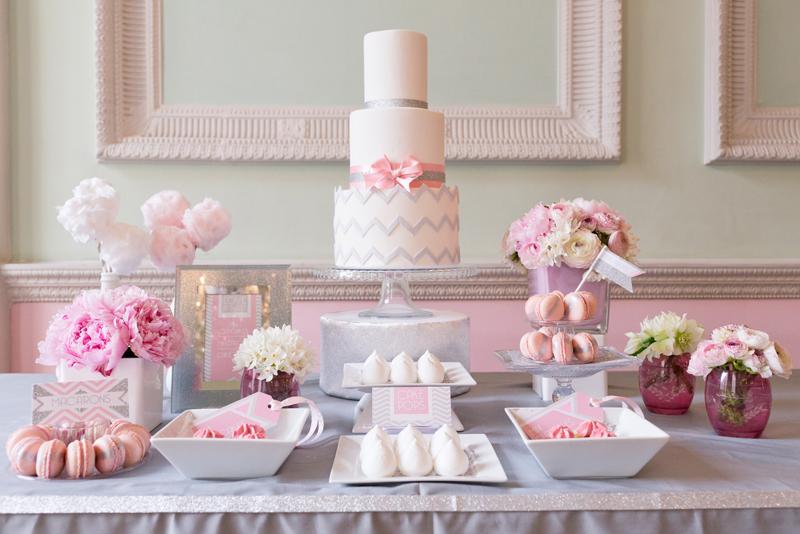 Chevron glitter wedding dessert table paperknots for Mesa de postres para boda